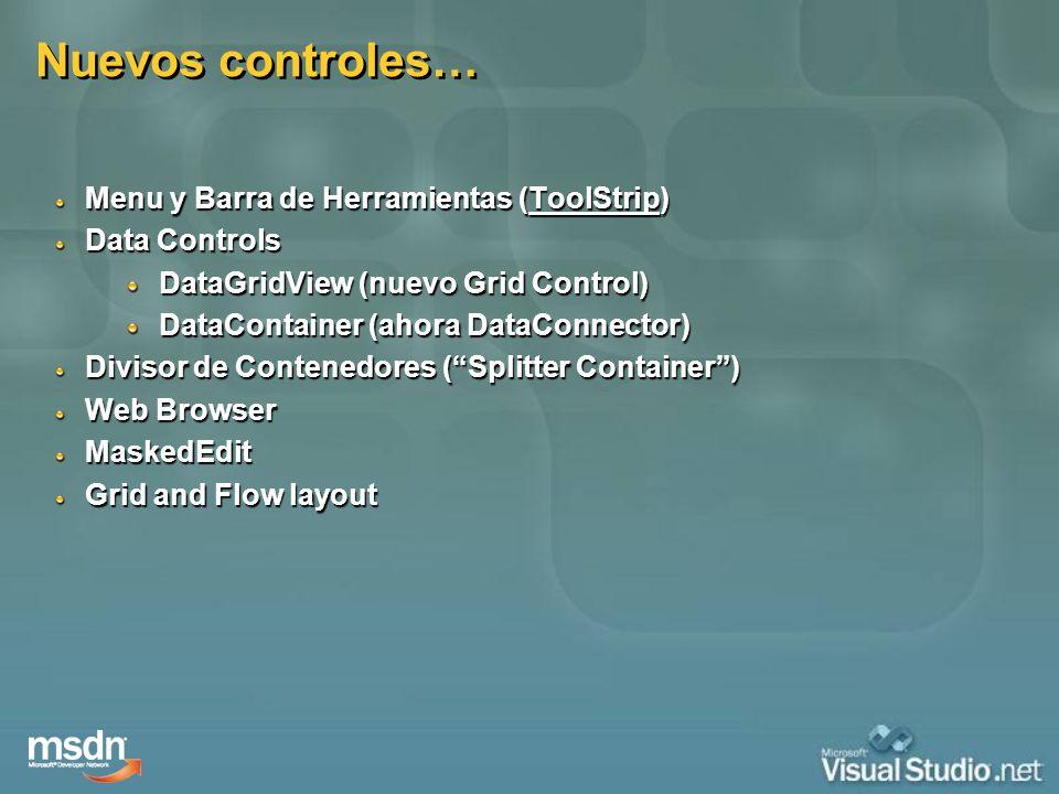 Nuevos controles… Menu y Barra de Herramientas (ToolStrip)