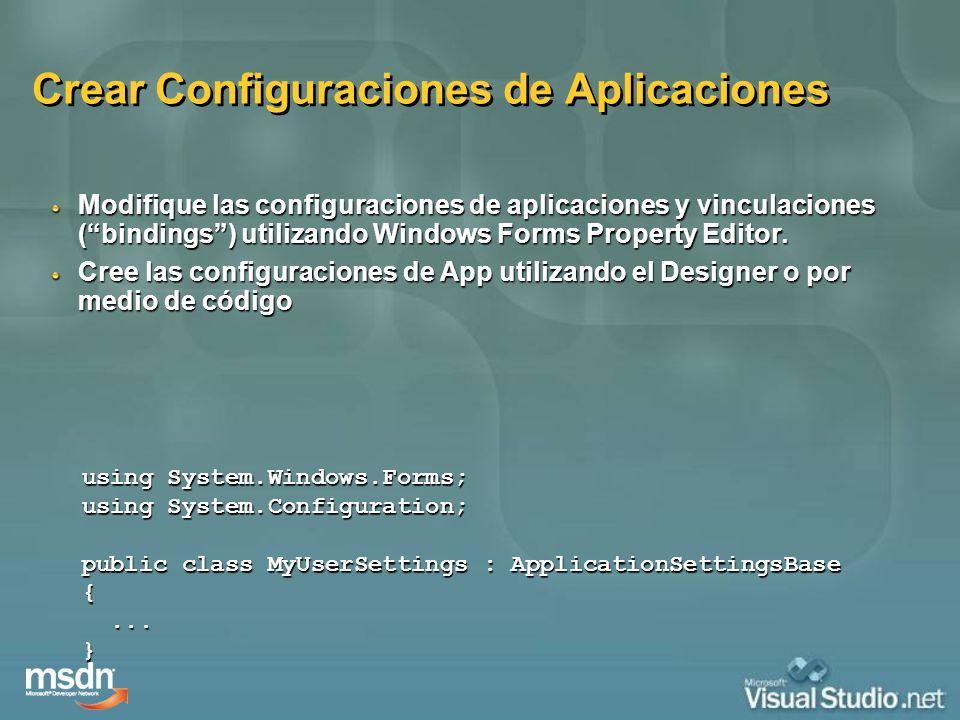 Crear Configuraciones de Aplicaciones