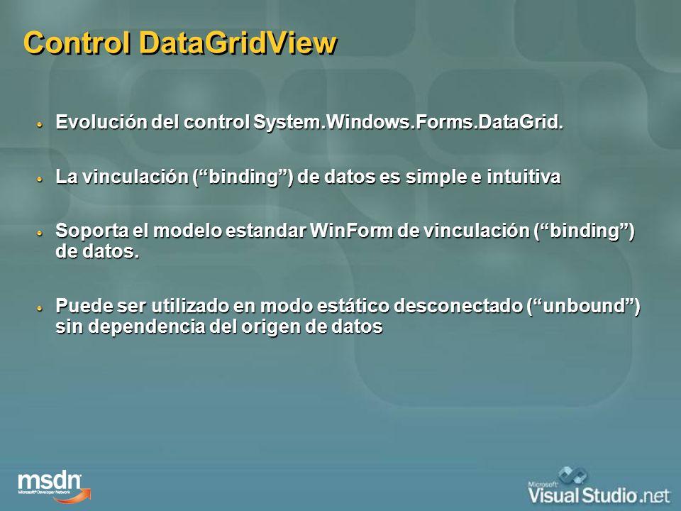 Control DataGridView Evolución del control System.Windows.Forms.DataGrid. La vinculación ( binding ) de datos es simple e intuitiva.