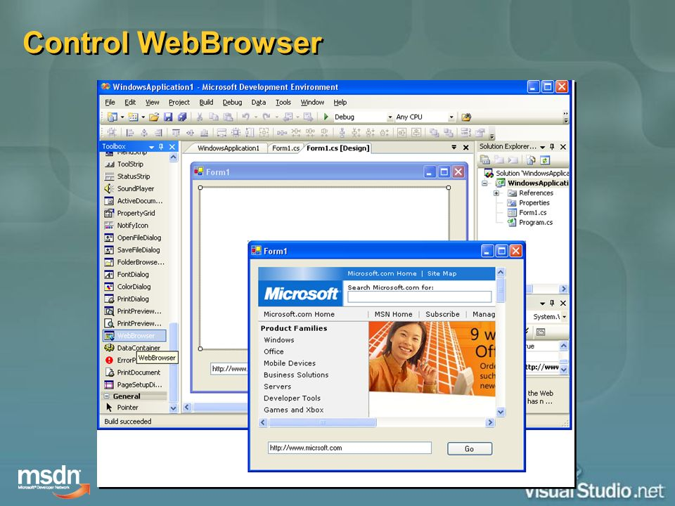 Control WebBrowser This control provides a managed wrapper for the WebBrowser ActiveX control .