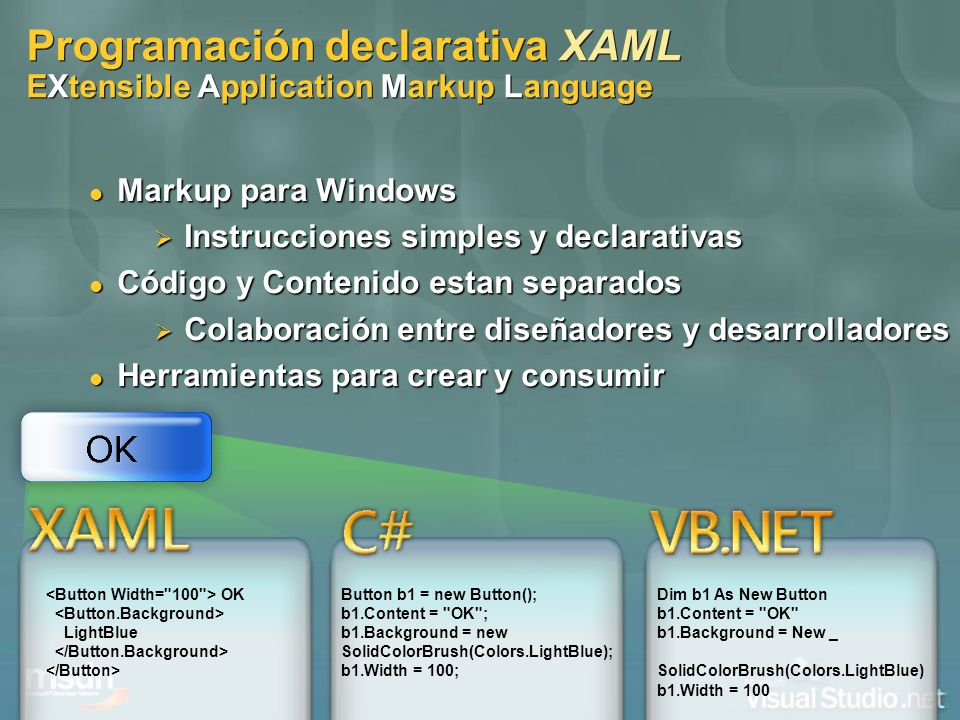 Programación declarativa XAML EXtensible Application Markup Language