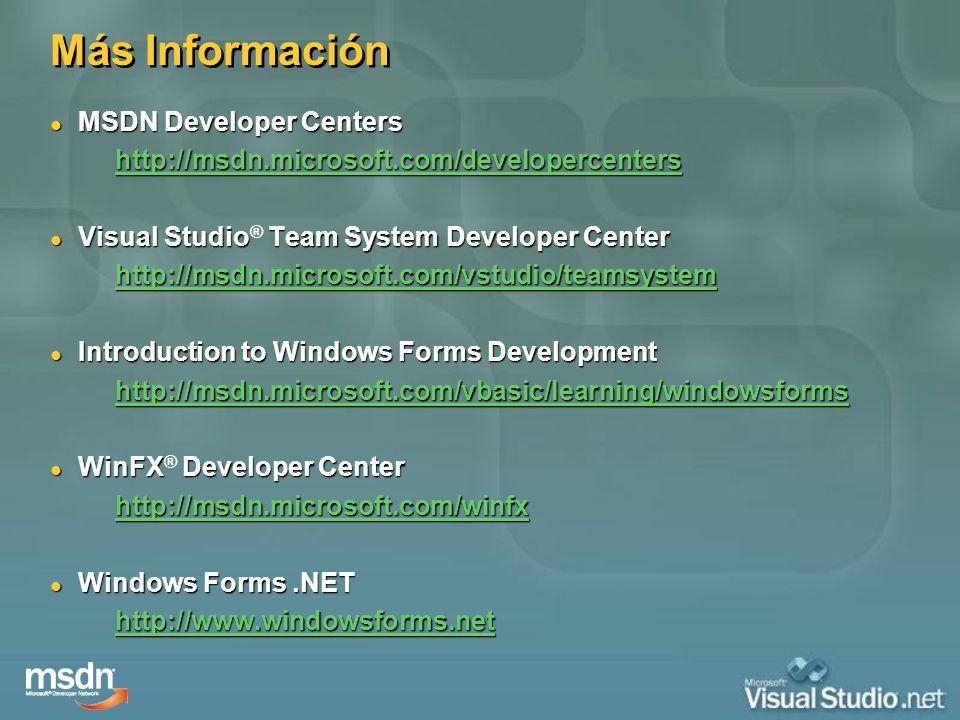 Más Información MSDN Developer Centers