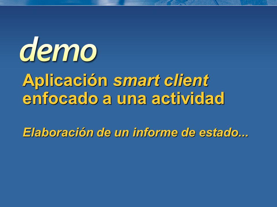 Aplicación smart client enfocado a una actividad Elaboración de un informe de estado...