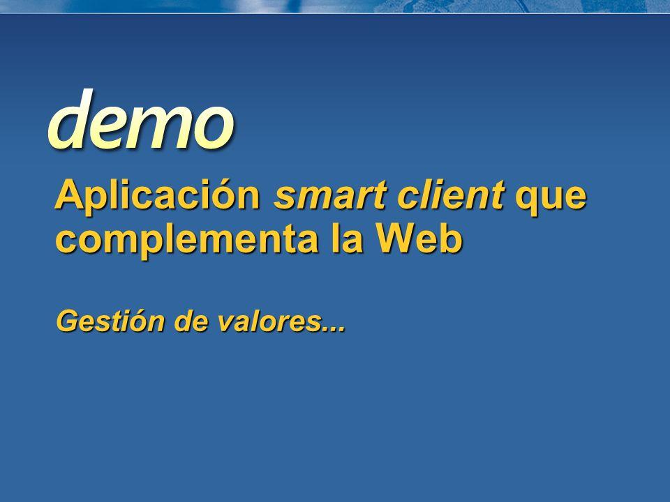 Aplicación smart client que complementa la Web Gestión de valores...