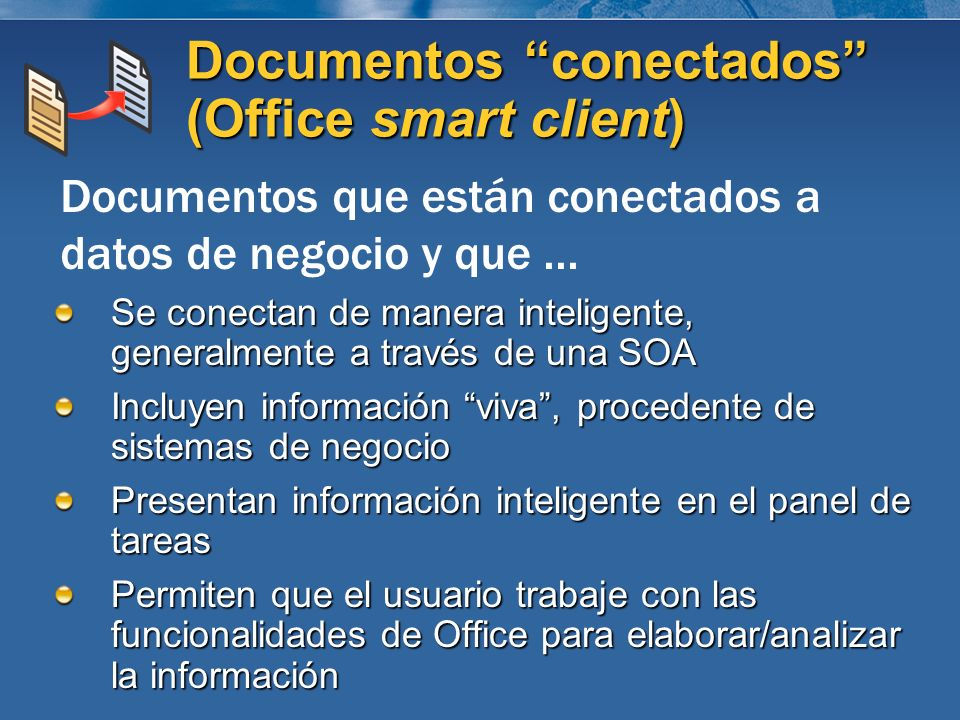 Documentos conectados (Office smart client)