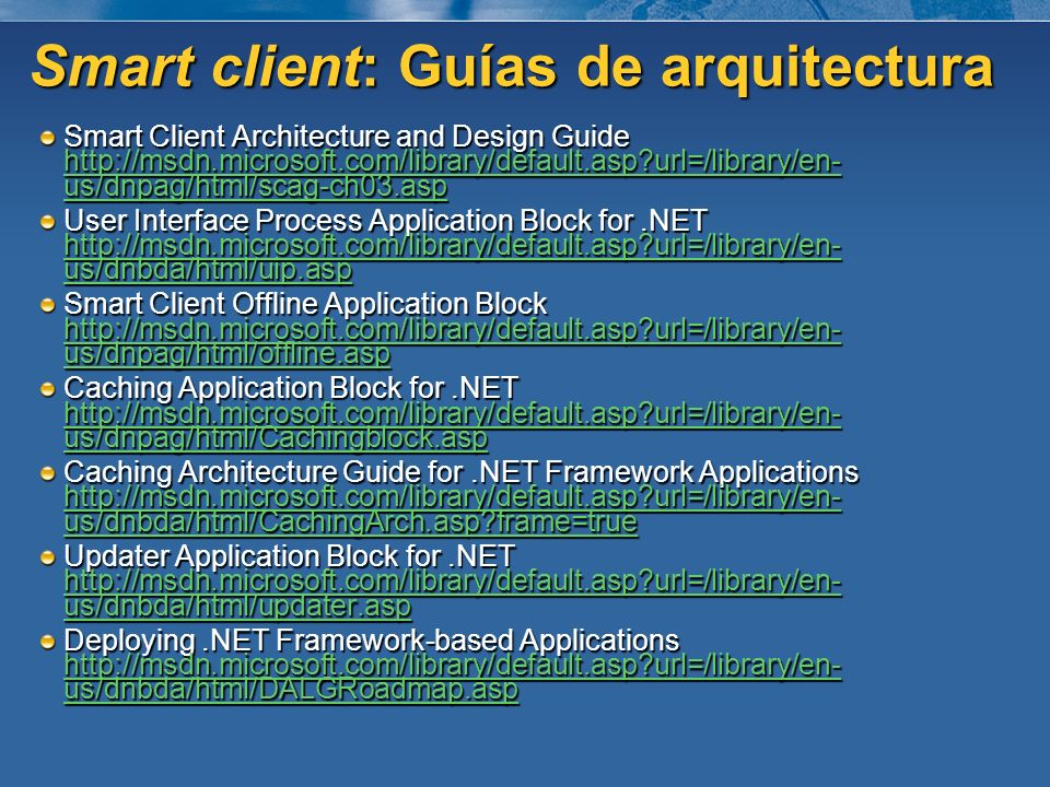 Smart client: Guías de arquitectura