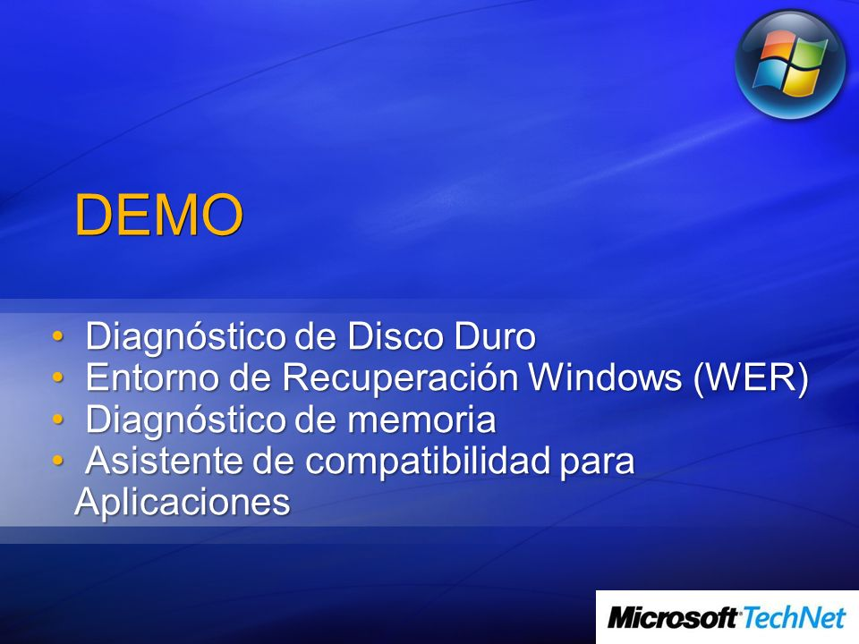 DEMO Diagnóstico de Disco Duro Entorno de Recuperación Windows (WER)