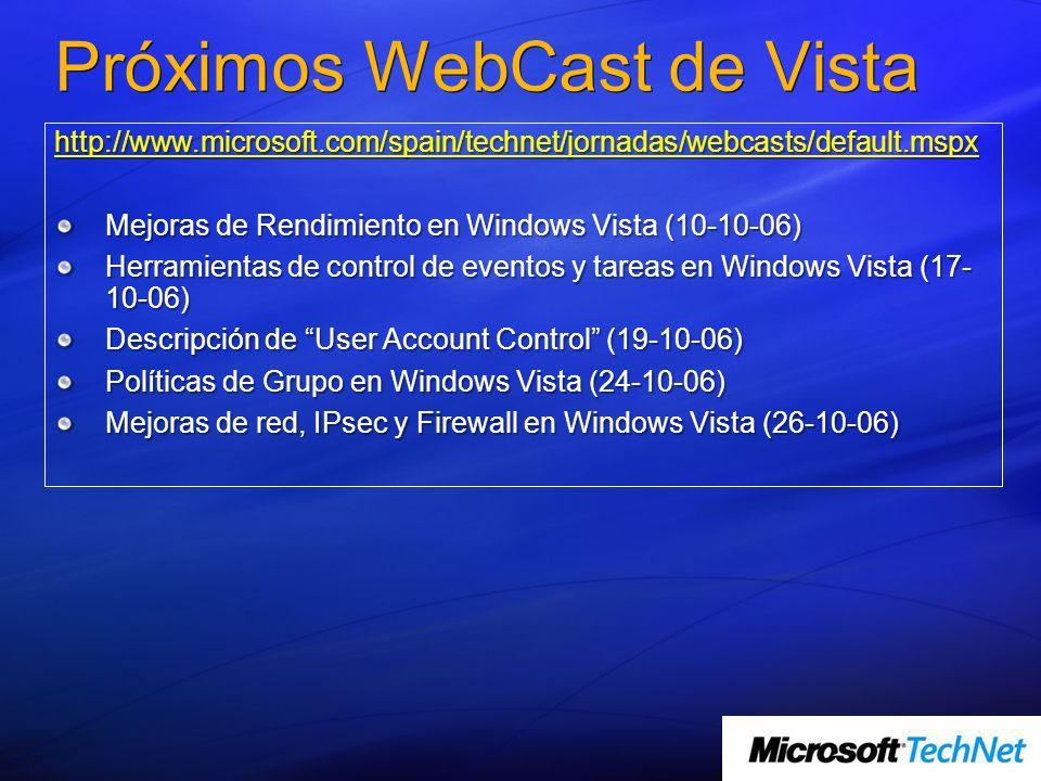 Próximos WebCast de Vista