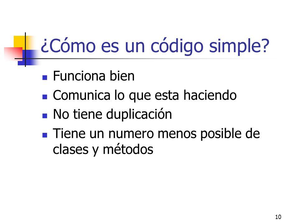 ¿Cómo es un código simple