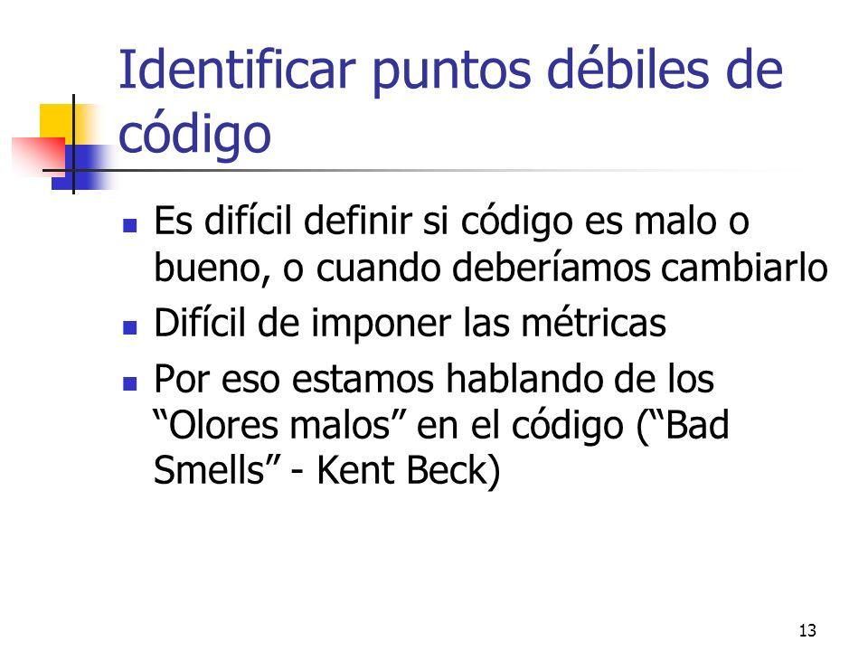 Identificar puntos débiles de código