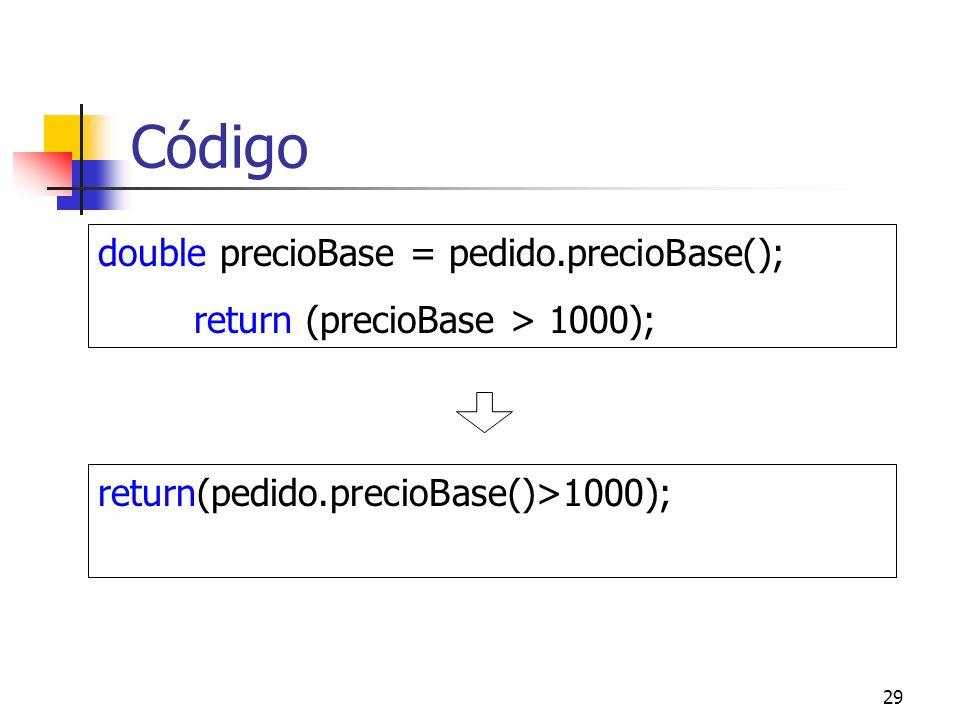 Código double precioBase = pedido.precioBase();