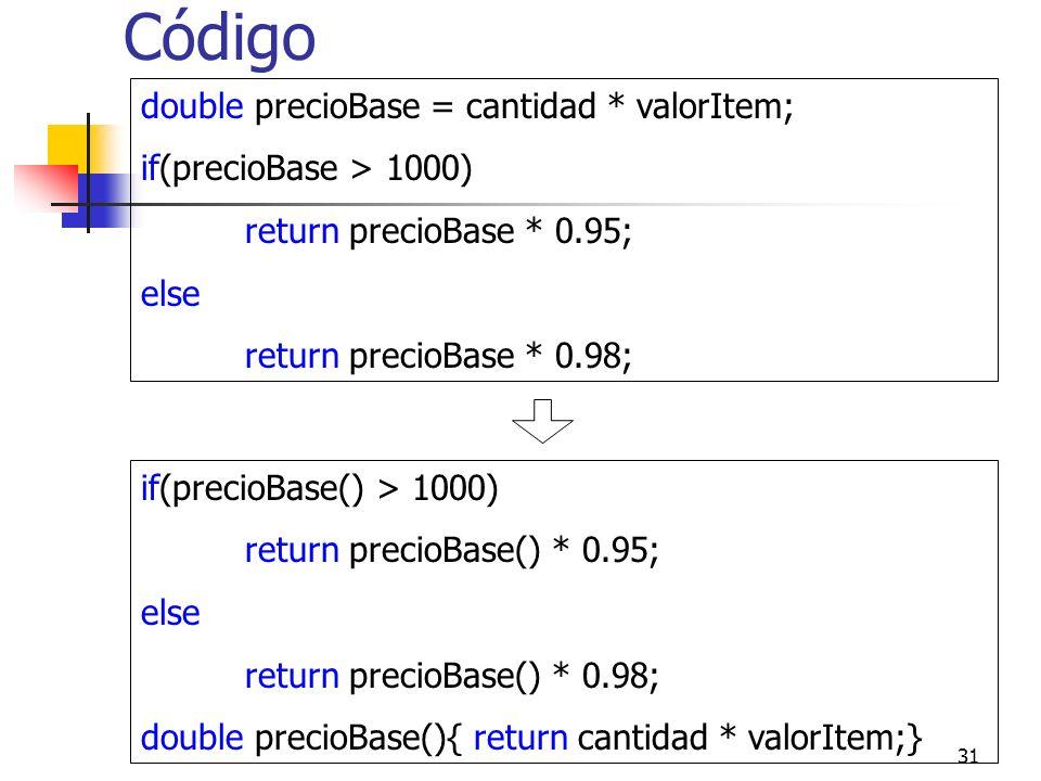 Código double precioBase = cantidad * valorItem;