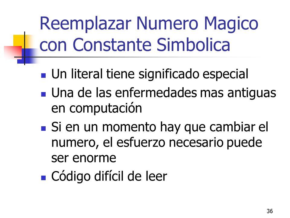 Reemplazar Numero Magico con Constante Simbolica