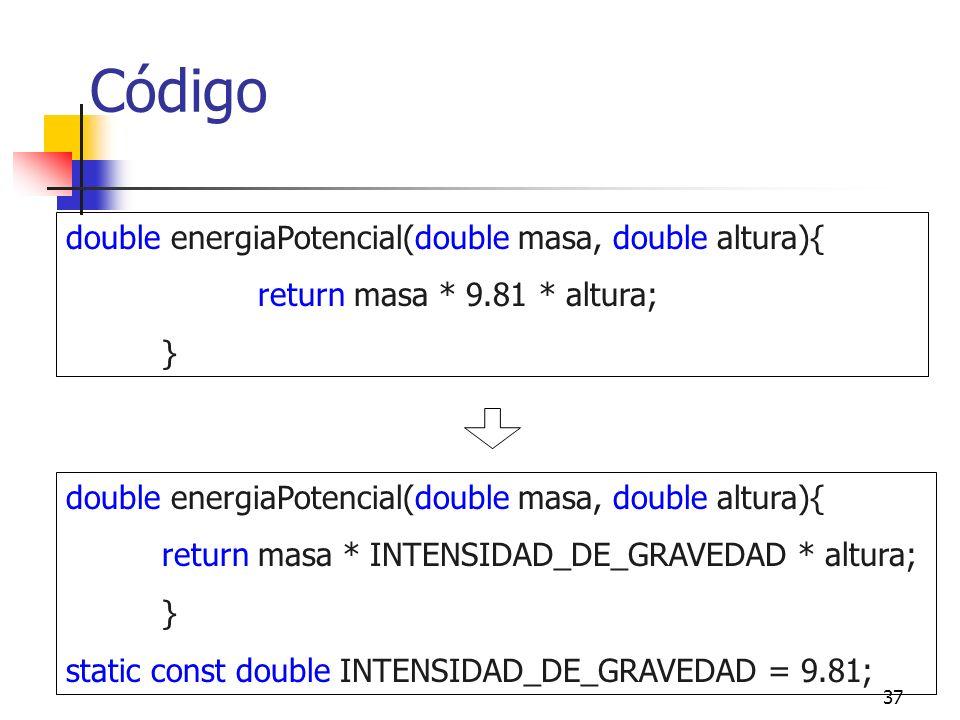 Código double energiaPotencial(double masa, double altura){