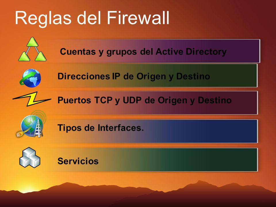 Reglas del Firewall Cuentas y grupos del Active Directory