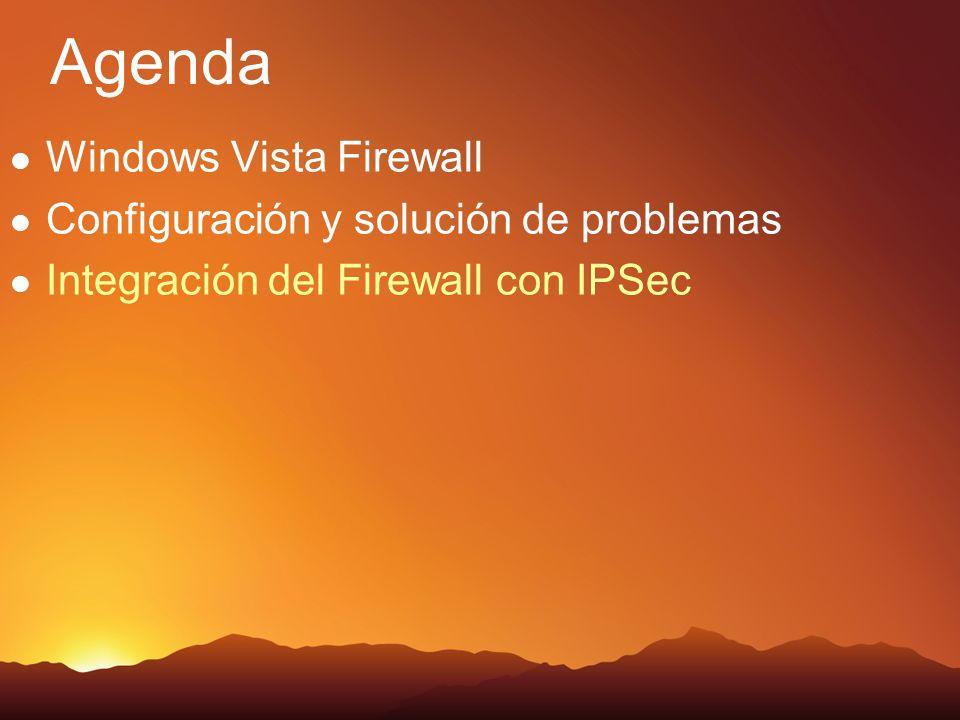 Agenda Windows Vista Firewall Configuración y solución de problemas