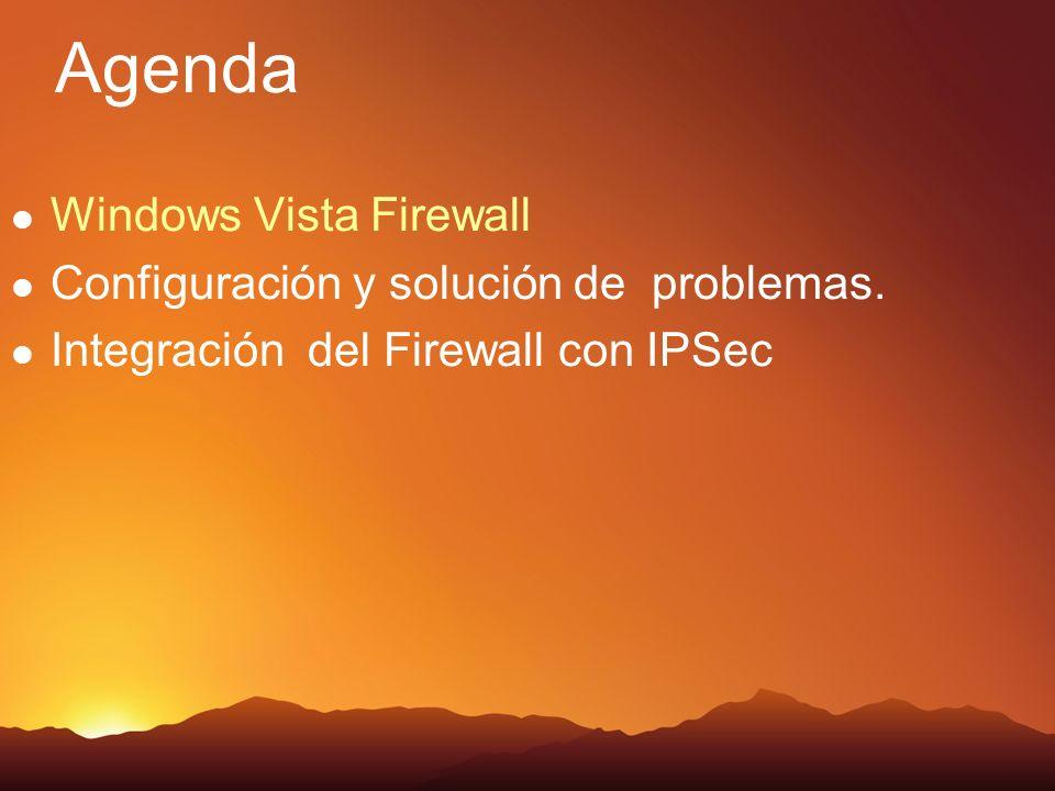 Agenda Windows Vista Firewall Configuración y solución de problemas.