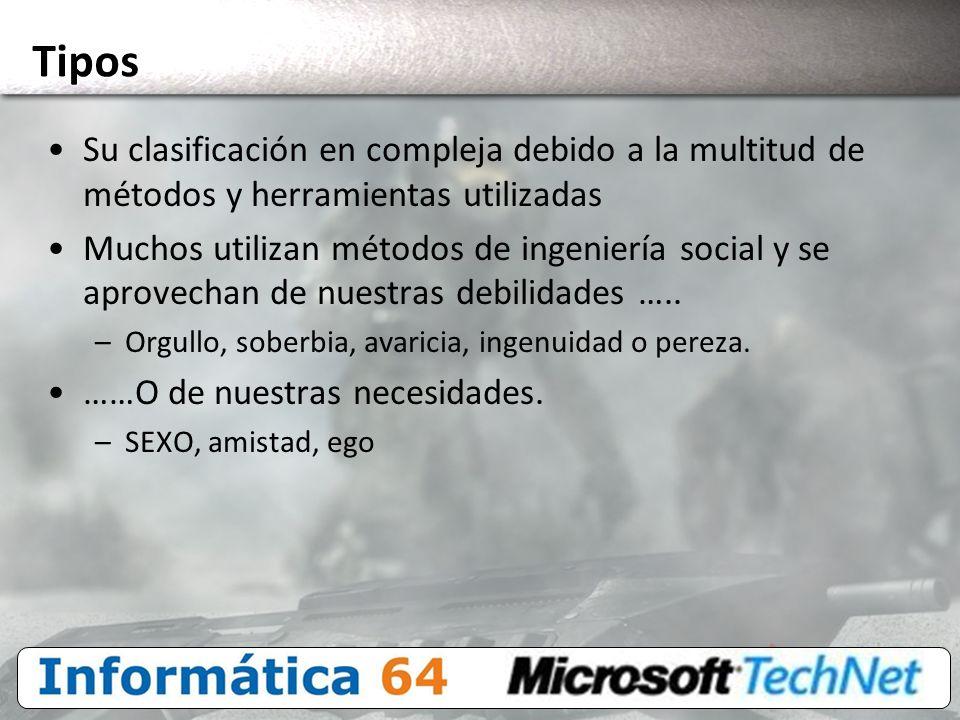 Tipos Su clasificación en compleja debido a la multitud de métodos y herramientas utilizadas.