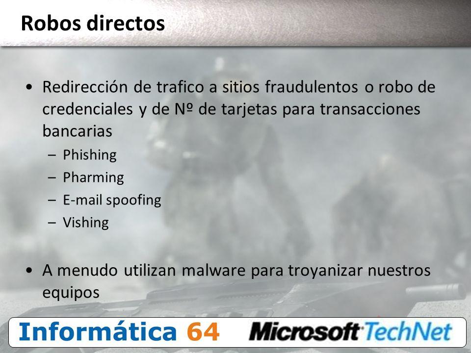 Robos directos Redirección de trafico a sitios fraudulentos o robo de credenciales y de Nº de tarjetas para transacciones bancarias.
