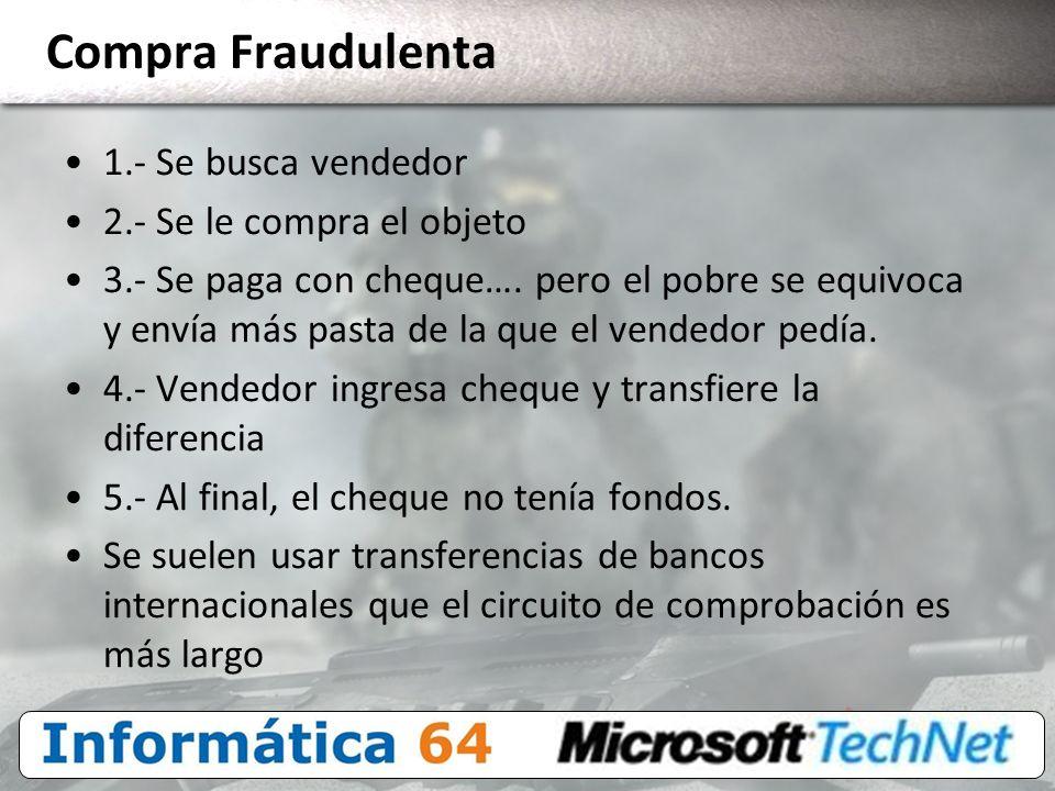Compra Fraudulenta 1.- Se busca vendedor 2.- Se le compra el objeto