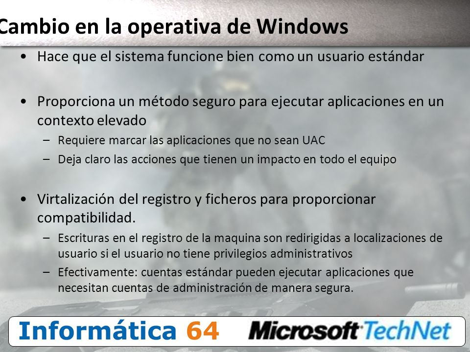 Cambio en la operativa de Windows