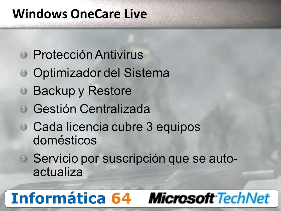 Windows OneCare Live Protección Antivirus Optimizador del Sistema