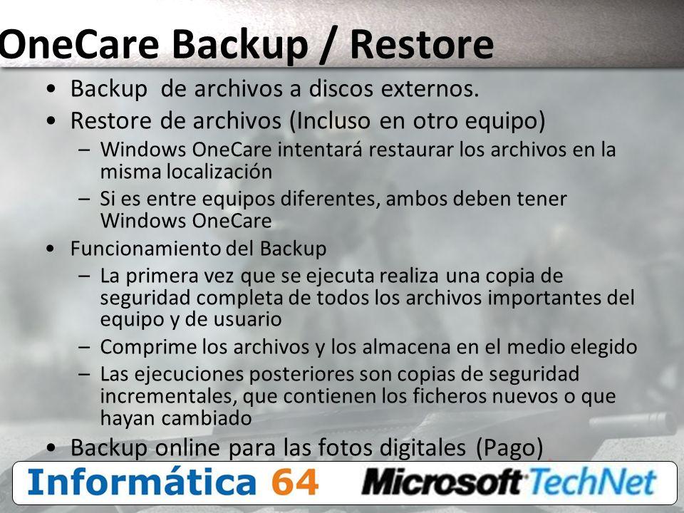 OneCare Backup / Restore