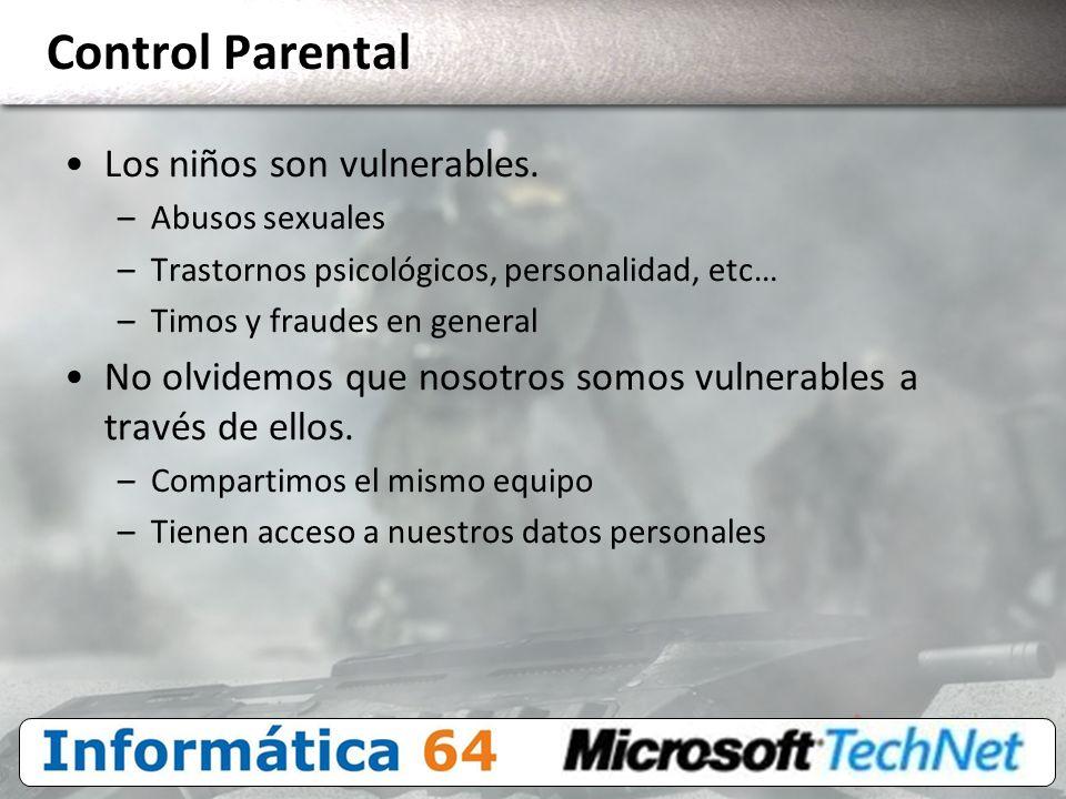 Control Parental Los niños son vulnerables.