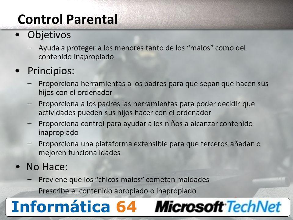 Control Parental Objetivos Principios: No Hace: