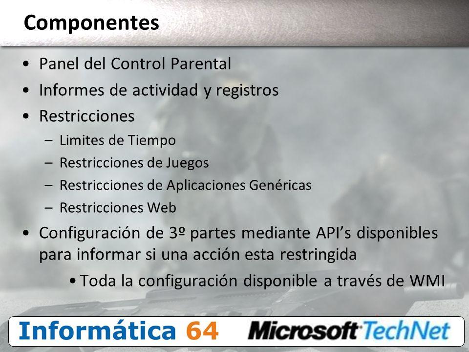 Componentes Panel del Control Parental