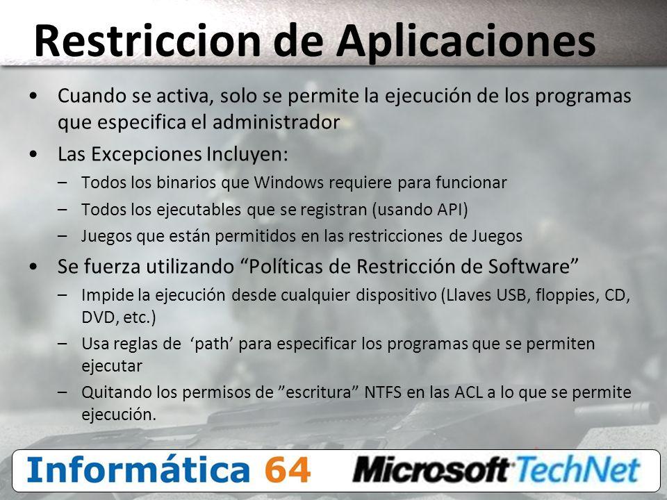 Restriccion de Aplicaciones