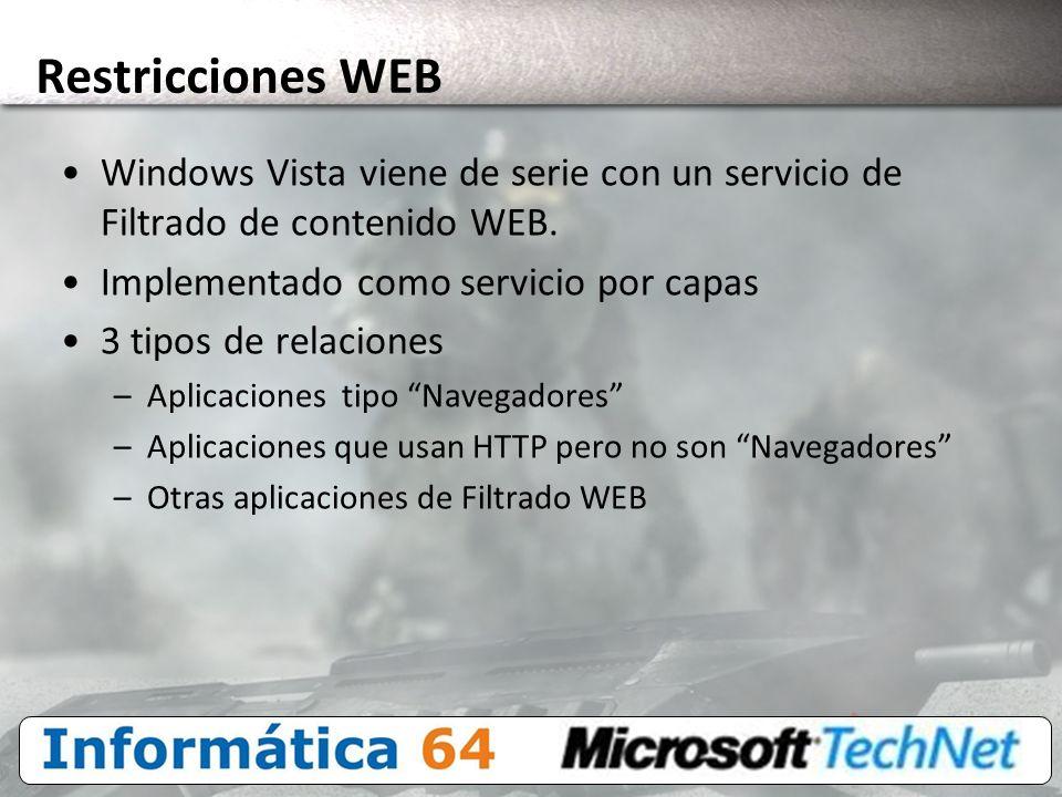 3/24/2017 4:00 PM Restricciones WEB. Windows Vista viene de serie con un servicio de Filtrado de contenido WEB.