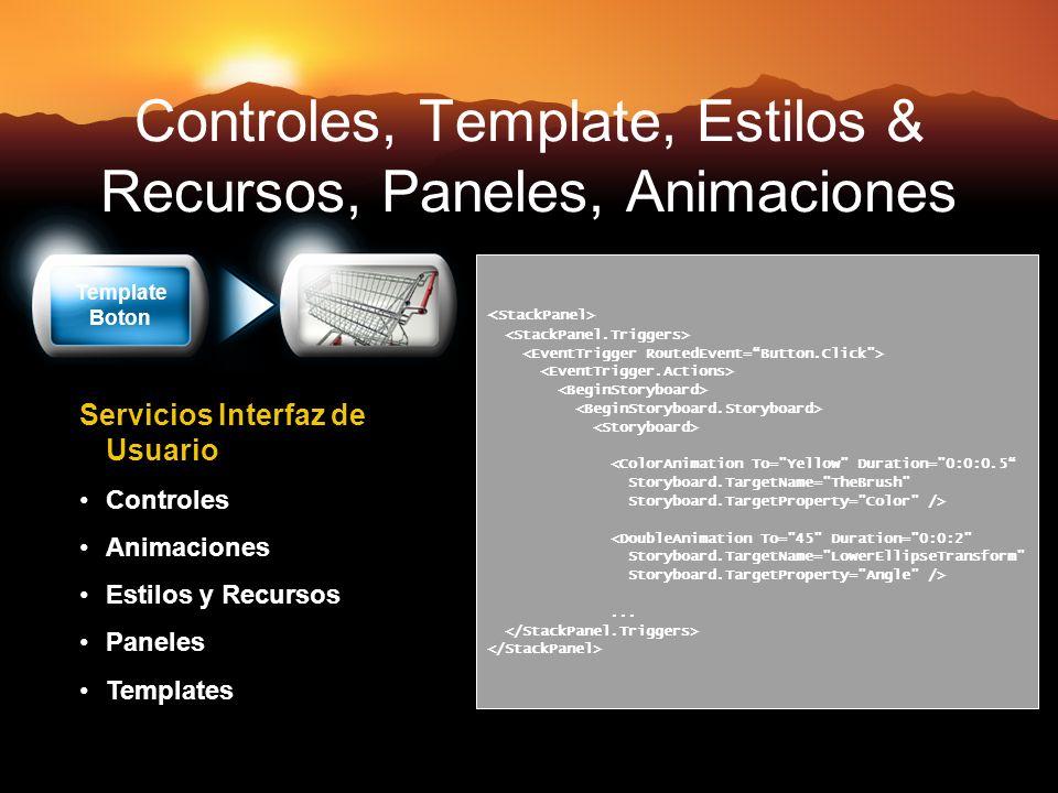Controles, Template, Estilos & Recursos, Paneles, Animaciones