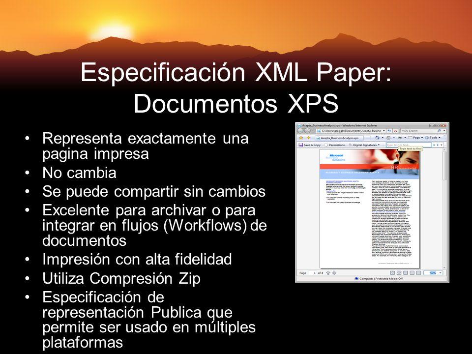 Especificación XML Paper: Documentos XPS