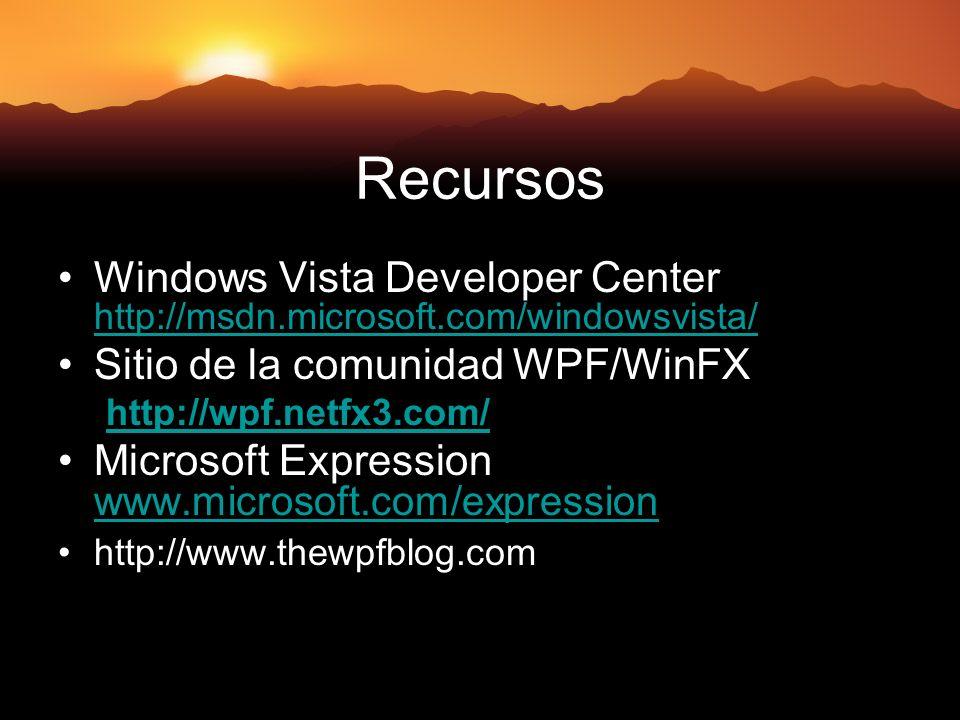 Recursos Windows Vista Developer Center http://msdn.microsoft.com/windowsvista/ Sitio de la comunidad WPF/WinFX.