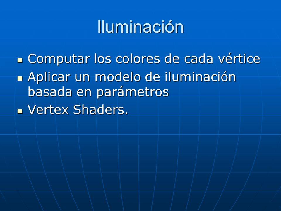 Iluminación Computar los colores de cada vértice