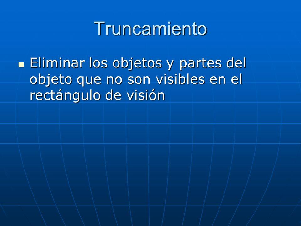 Truncamiento Eliminar los objetos y partes del objeto que no son visibles en el rectángulo de visión.