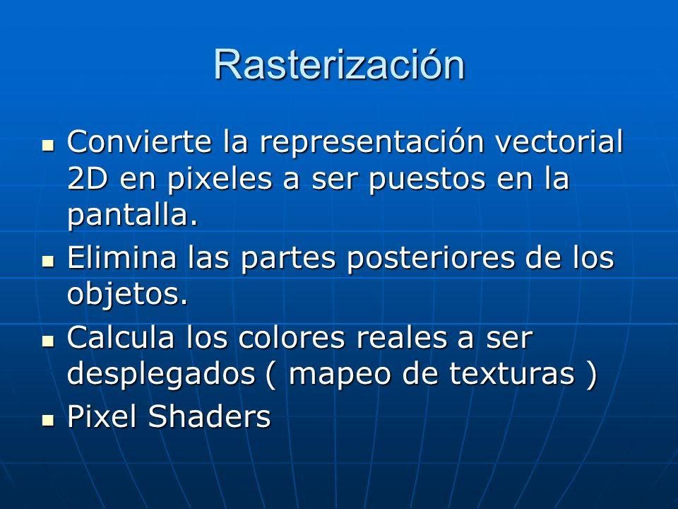 Rasterización Convierte la representación vectorial 2D en pixeles a ser puestos en la pantalla. Elimina las partes posteriores de los objetos.