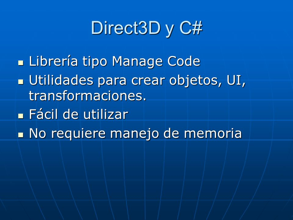 Direct3D y C# Librería tipo Manage Code