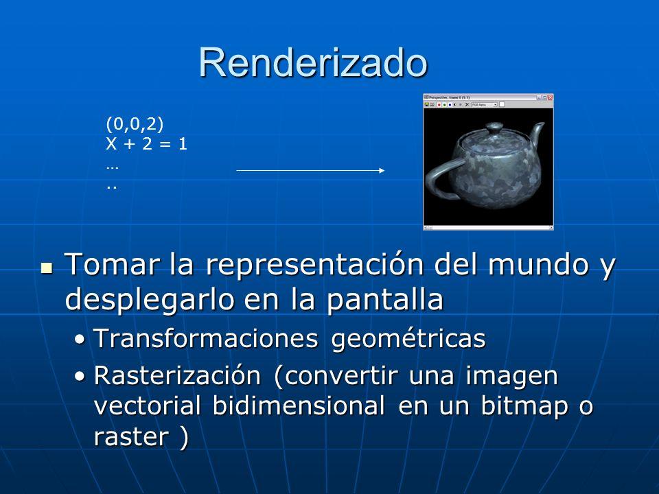 Renderizado (0,0,2) X + 2 = 1. … .. Tomar la representación del mundo y desplegarlo en la pantalla.