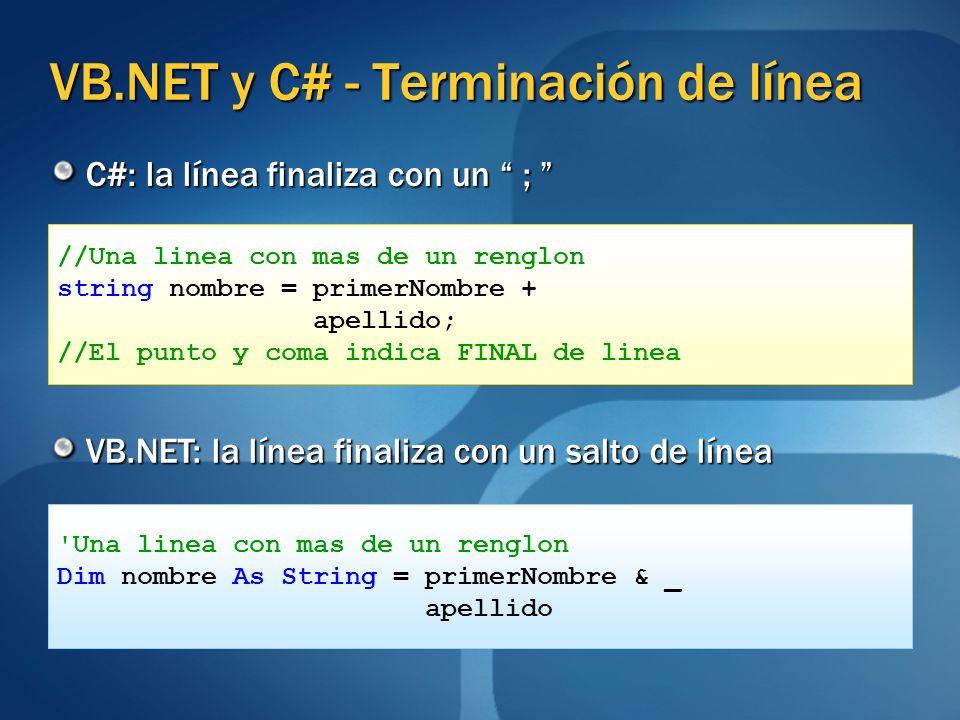VB.NET y C# - Terminación de línea