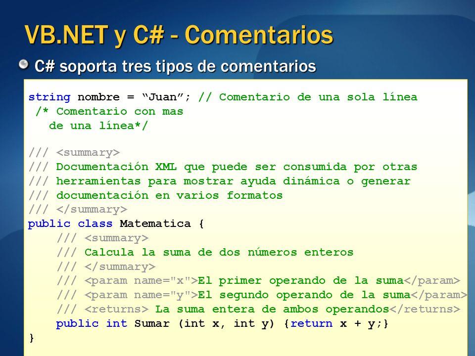 VB.NET y C# - Comentarios