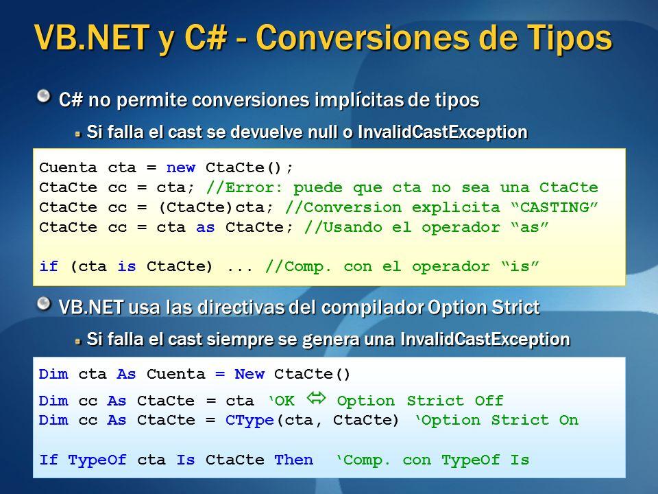 VB.NET y C# - Conversiones de Tipos