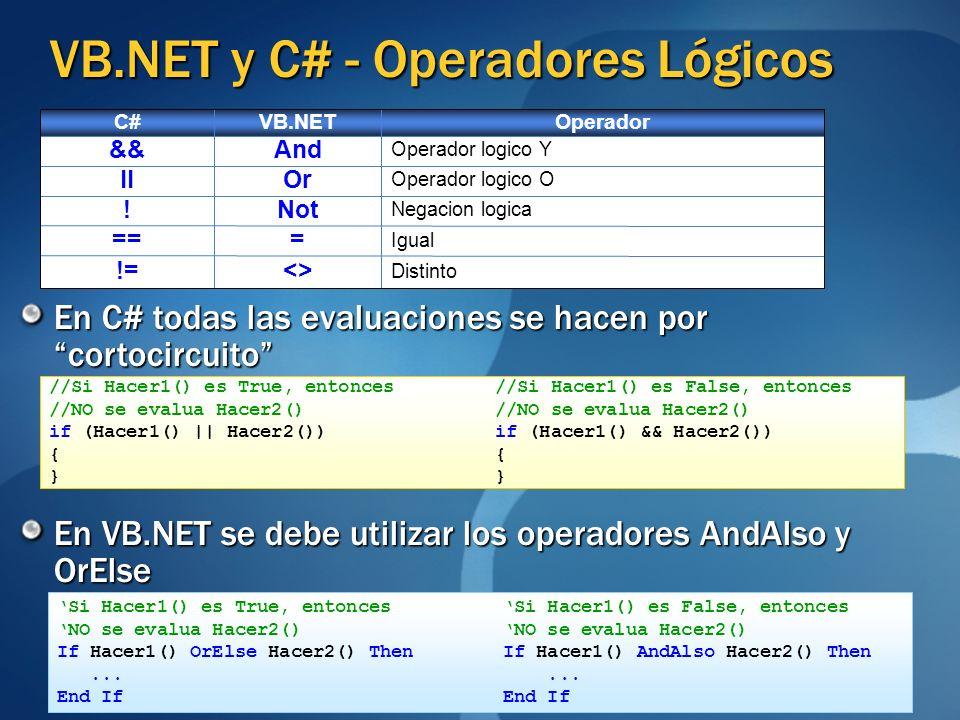 VB.NET y C# - Operadores Lógicos