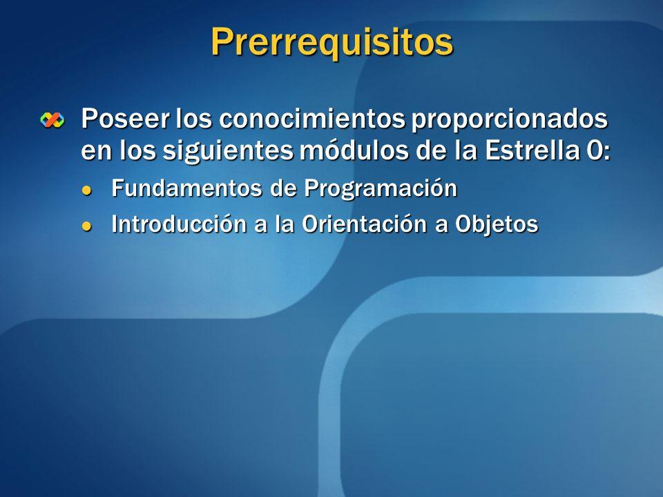 Prerrequisitos Poseer los conocimientos proporcionados en los siguientes módulos de la Estrella 0: Fundamentos de Programación.