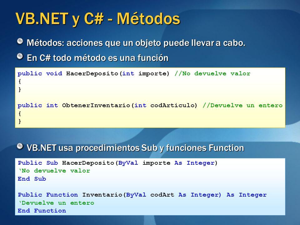 VB.NET y C# - Métodos Métodos: acciones que un objeto puede llevar a cabo. En C# todo método es una función.