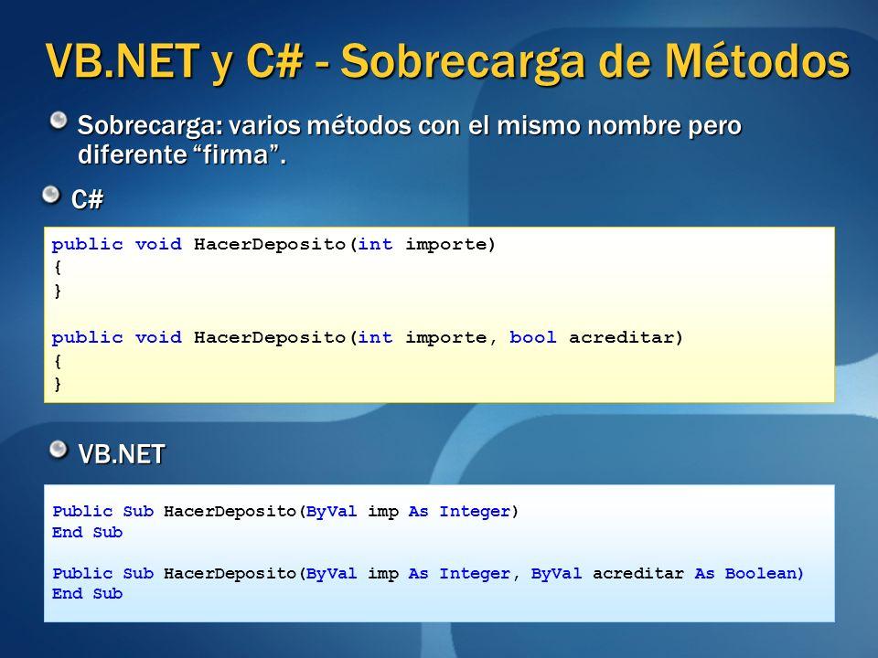 VB.NET y C# - Sobrecarga de Métodos