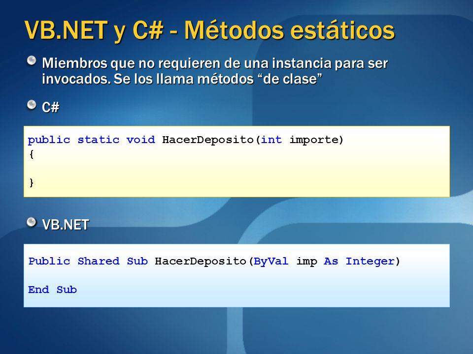 VB.NET y C# - Métodos estáticos