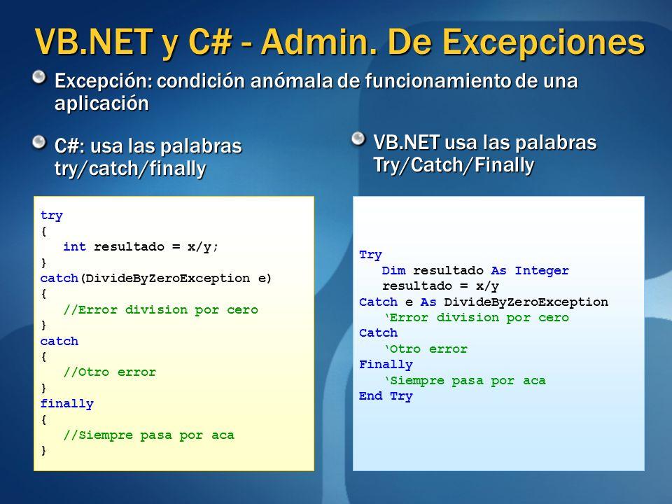 VB.NET y C# - Admin. De Excepciones