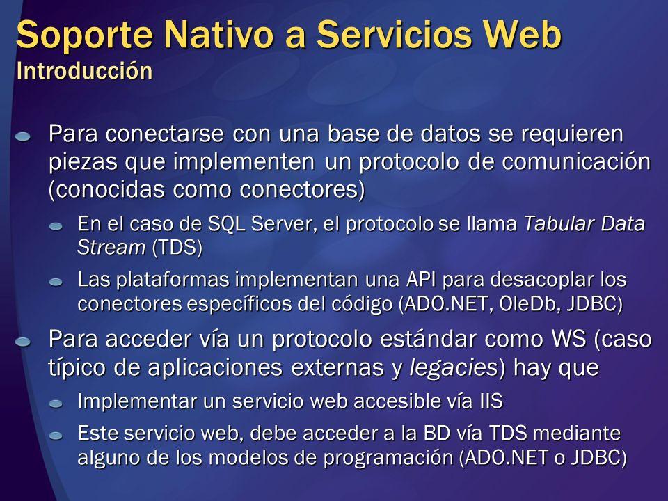 Soporte Nativo a Servicios Web Introducción